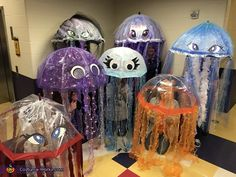 The Bloom: Natasha: Myself and colleagues are wearing jellyfish costumes. I made the back three in the group. They were all made by using tulle, ribbons, hot glue packing tape and lights. Halloween Costume Couple, Halloween Party Kostüm, Best Group Halloween Costumes, Couples Halloween, Homemade Halloween Costumes, Halloween Costume Contest, Spooky Halloween, Halloween Decorations, Infant Halloween