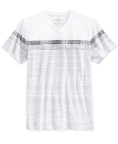 American Rag Sand City Stripe V-Neck T-Shirt, Only at Macy's