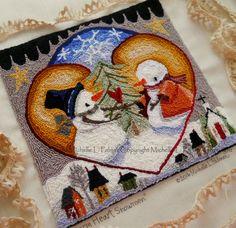 Warm Heart Snowmen Folk Village Valentine Meadow Love Punch Needle Embroidery DIGITAL Jpeg PDF PATTERN Michelle Palmer Painting w/Threads by MichellePalmer on Etsy https://www.etsy.com/listing/487913982/warm-heart-snowmen-folk-village