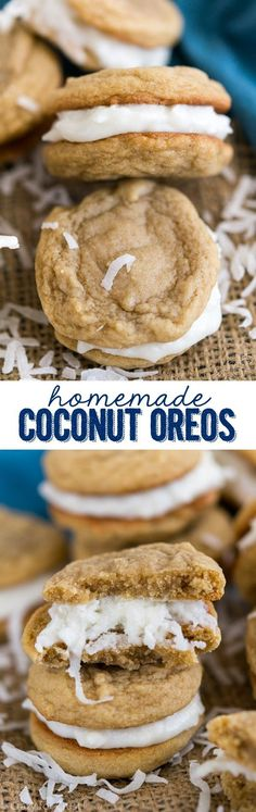 Coconut Oreos completely from scratch! Like a Golden Oreo copycat filled with coconut cream. They're easy to make at home!Homemade Coconut Oreos completely from scratch! Like a Golden Oreo copycat filled with coconut cream. They're easy to make at home! Brownie Desserts, Kokos Desserts, Coconut Desserts, Oreo Dessert, Coconut Recipes, Köstliche Desserts, Baking Recipes, Cookie Recipes, Dessert Recipes
