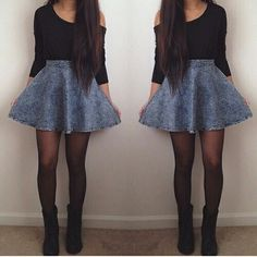 /// Acid Wash Jean Circle Skirt Black Tights Black Boots Off The Shoulder Black Long Sleeve Shirt Rebel Badass Teen Outfits Fall Indie Women Teen Fashion, Love Fashion, Fashion Outfits, Fashion Clothes, Fashion Ideas, Fall Winter Outfits, Autumn Winter Fashion, Fall Fashion, Skirt Outfits