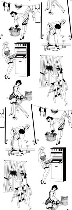 Handmade Wallpaper, Homewares, Cushions, Kitchen & Interior Design by Dupenny - 50's Housewives Wallpaper