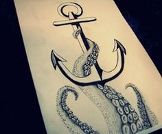 Add onto conch shell, going down my thigh; reverse anchor direction so it still points down. anchor and octopus tattoo idea design