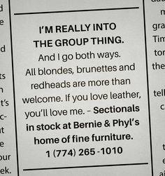 Bernie & Phyl's: Personal ads, 2