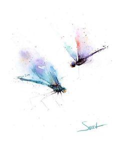 LIBÉLULA ART PRINT acuarela de libélula amante por SignedSweet