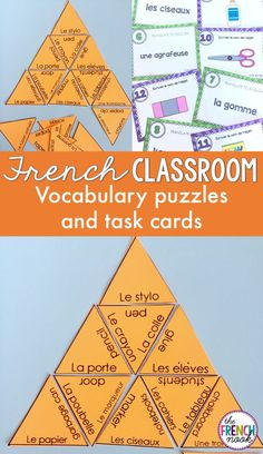 la salle de classe- french classroom vocabulary puzzles and task cards Vocabulary Cards, Vocabulary Activities, Class Activities, Classroom Activities, Class Games, Laporte, Learn To Speak French, Core French, French Education
