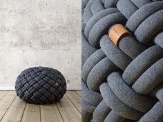 Knotty floor cushion (dark grey melange)
