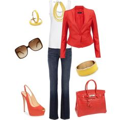 Yellow and Coral. 7 for all Mankind jeans, Giuseppe Zanotti peep toe shoes, Hermes Birkin Bag, Gucci Sunglasses