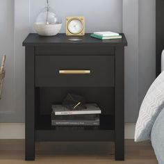 Find for Valeria 1 Drawer Nightstand By Trule Teen Teen Dresser, 7 Drawer Dresser, Dresser With Mirror, Black Drawers, Wood Drawers, City Furniture, Bedroom Furniture, Street Furniture, Black Nightstand