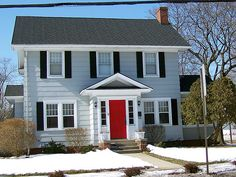 gray siding with red door