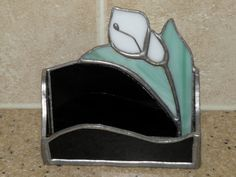 Vtg Stained Glass LILLY Business Card Holder