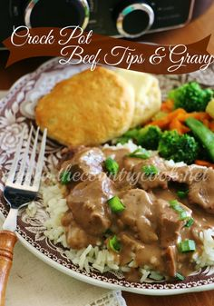 The Country Cook: Crock Pot Beef Tips and Gravy - Crockpot Recipes Crock Pot Beef Tips, Crockpot Dishes, Crock Pot Slow Cooker, Crock Pot Cooking, Beef Dishes, Slow Cooker Recipes, Food Dishes, Beef Recipes, Cooking Recipes