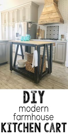 Not all of us have a large space to put a giant kitchen island, but we do have room for a cute island cart, and today that's just what we are building! This farmhouse kitchen cart island is a great DIY piece for a kitchen or eating area. It has tons of st Farmhouse Kitchen Island, Modern Farmhouse Kitchens, Farmhouse Table, Farmhouse Decor, Kitchen Modern, Farmhouse Furniture, Diy Furniture, Bedroom Furniture, Diy Kitchen Furniture