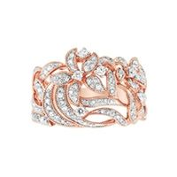 EFFY 1/2 ct. tw. Diamond Flower Fashion Ring in 14K Rose Gold