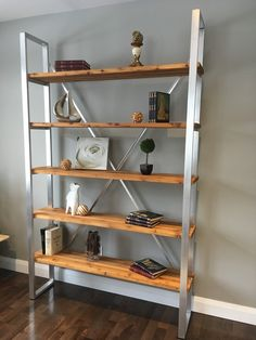 Mecky's Elegance Bookshelf - 90 inches high X 60 inches wide Red cedar and brushed aluminum Unique and pure design