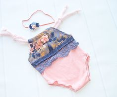 A Wink and a Nod - newborn romper in peach with periwinkle, navy blue and mustard yellow - includes coordinating headband (RTS) by SoTweetDesigns on Etsy