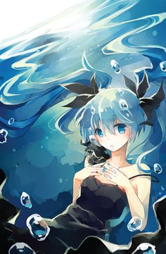 Beautiful anime fanart poster of the Vocaloid Deep Sea Hatsune Miku by HideAwayMelon on Etsy.