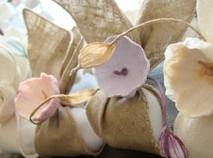 Green wedding :favors ....linen and paper flowers www.alessandrafabre.com