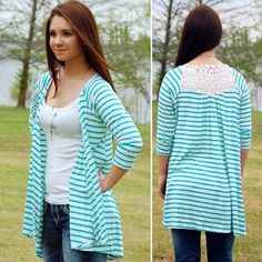 NWT Turquoise Stripe Blue Lace Back Cardigan This is such a comfy cardigan. It's a light blue and white stripe with crochet floral shoulder detail. Runs true to size for a baggy, comfy fit. Paperback Boutique Tops