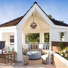 Add+beauty+and+function+to+your+outdoor+space+with+a+distinctive+gazebo.+This+eight-sided+room+features+soft+wraparound+bench+seating+and+an+ottoman+to+maximize+comfort+and+usability.