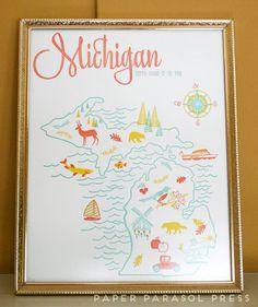 Michigan State Letterpress Print 8x10 by paperparasolpress on Etsy, $27.00