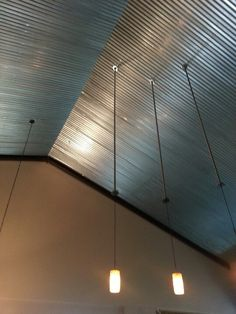 Corrugated metal ceiling wainscoting for the home for Metal barn over basement