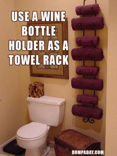 DIY Home Decor Idea: Wine Rack as a Towel Holder for a small bathroom Bathroom Organization, Bathroom Storage, Organization Hacks, Bathroom Ideas, Bathroom Towels, Bath Towels, Downstairs Bathroom, Pool Towels, Bathroom Renovations