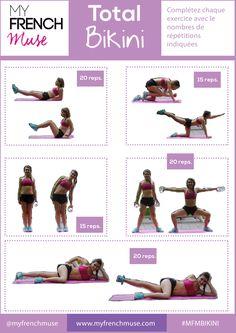 Découvrez une nouvelle fiche de sport, avec des exercices pour les zones ciblés : intérieur des cuisses, fesses, bras et abdos ! Let's go !