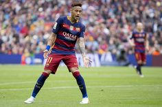Barcelona's Neymar Jr gestures during the Spanish league football match between the FC Barcelona and the RCD Espanyol at Camp Nou stadium on May 8...