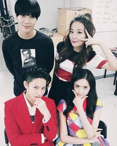 SNSD YoonA posed for a photo with Heechul, Seulgi, and Taemin ~ Wonderful Generation
