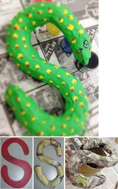 It's been some time since our last papier mache project so let's make one today. Papier mache snake hook Cut an S shape out of a hard board. Preschool Crafts, Kids Crafts, Diy And Crafts, March Themes, Paper Mache Sculpture, Paper Mache Crafts, Halloween Crafts For Kids, Classroom Displays, Creative Play