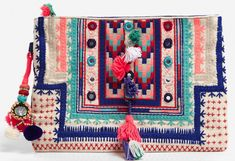 Pochette ethnique ecru broder bleu, rose, rouge, t… Hippie Bags, Boho Bags, Diy Clutch, Clutch Bag, Pochette Rose, Best Leather Wallet, Ethnic Bag, Embroidery Bags, Cute Bags