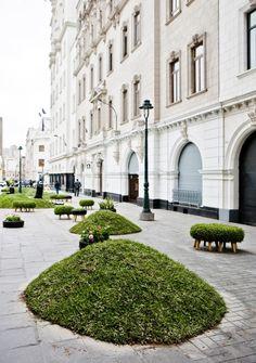 Notice the grass covering the repurposed ottoman!  ZsaZsa Bellagio: Black, White, Green