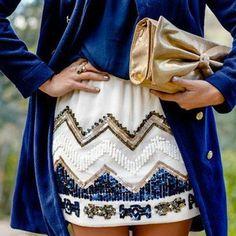 Pochette dorée à noeud, jupe à paillette, bleu et gold - Les Cachotières