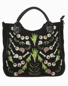 Banned Ribcage Skeleton Bones Bats Skulls Eyeballs Gothic Shoulder Bag Handbag in Clothes, Shoes & Accessories, Women's Handbags | eBay