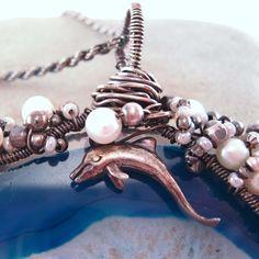 Wire wrapped Blue Agate Slice Ocean Dreams by TheFamiLeeJewels