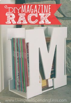 """You won't believe how quick & easy (and inexpensive!) it is to make this darling """"M is for Magazine"""" rack using precut wood letters & a piece of scrap wood!  A stylish & original gift idea that is sure to be a hit!"""