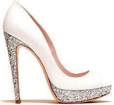 Miu Miu white glitter pump, adorable!  Great wedding shoes!