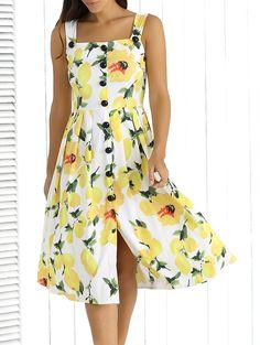 Straps Lemon Print Single-Breasted Dress
