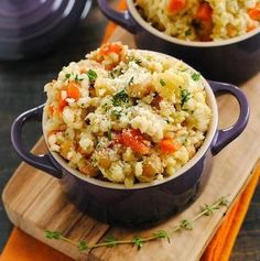 Slow cooker barley and chickpea risotto is a delicious low-cholesterol recipe.