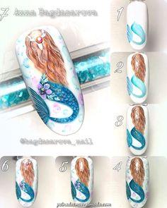 How to make a pretty Christmas tree pattern easily - My Nails Cute Nail Art, Cute Nails, Pretty Nails, Nail Art Disney, Anime Nails, Sea Nails, Nail Drawing, Mermaid Nails, Nail Art Videos