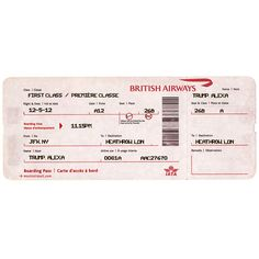 First Class Airway Ticket to London, British Airways ❤ liked on Polyvore