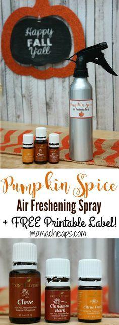 DIY Pumpkin Spice Air Freshening Spray + FREE Printable Label