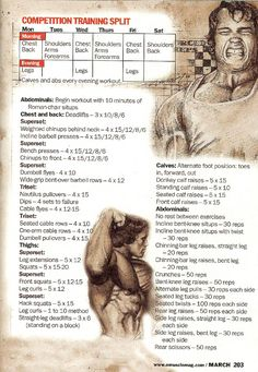 Arnold Schwarzenegger: 014 - Competition Training Split http://www.ground-based.com/blogs/recipes