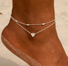 Female Heart Anklets Barefoot Crochet Sandals Foot Jewelry New Ankle Ankle Foot Anklets Bracelets For Women Leg Chain Ankle Jewelry, Dainty Jewelry, Cute Jewelry, Silver Jewelry, Jewelry Necklaces, Women Jewelry, Silver Ring, Silver Earrings, Gold Rings