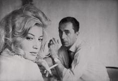"italian movie stars of the 60's | Michelangelo Antonioni and Monica Vitti on the set of Antonioni's ""La ..."