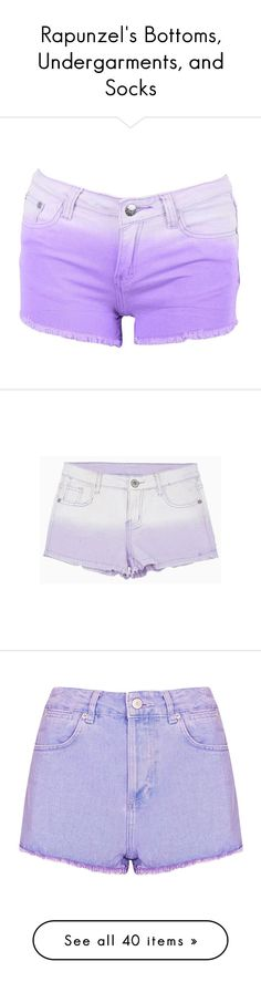 """Rapunzel's Bottoms, Undergarments, and Socks"" by disneydressing ❤ liked on Polyvore featuring shorts, bottoms, pants, short, frayed denim shorts, jean shorts, purple jean shorts, short shorts, cotton shorts e choies"