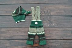 Newborn Photography Set  Upcycled Forest Green Suspender Set  by ToodleBugCreations, $26.50
