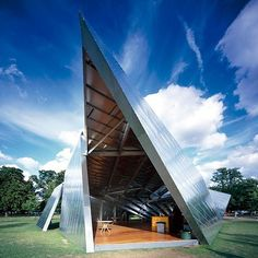 Next up in our roundup of Serpentine Gallery Pavilions is Daniel Libeskind's angular metal pavilion from 2001. See more Serpentine Gallery Pavilions at http://ift.tt/1LnHkVJ #architecture #pavilions #serpentinegallery by dezeen