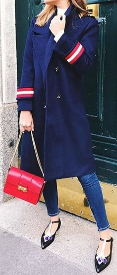 #cute #outfits Blue Coat // Skinny Jeans // Flat Pumps